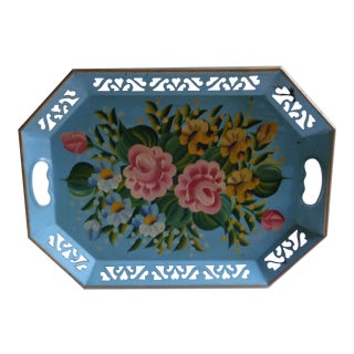 Vintage 1940s Blue Painted Floral Tole Tray For Sale