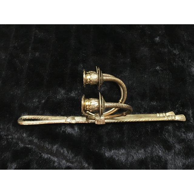 Neoclassical Brass 3 Arm Candle Wall Sconces - a Pair For Sale - Image 4 of 5