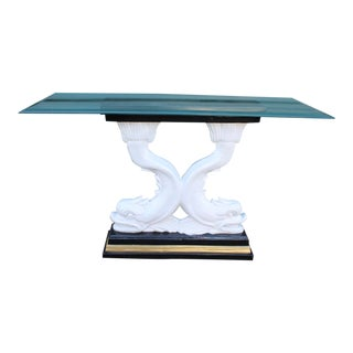 Asian Chinoiserie Dolphin Koi Fish Console Table For Sale