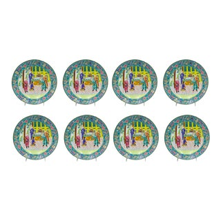 Chinese Style Figural Enamel Plate - Set of 8 For Sale