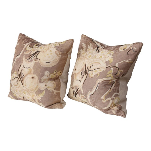 Pair of vintage hand-painted silk damask pillows with linen and silk blend backs (circa 1950-1970). Sides of pillows...