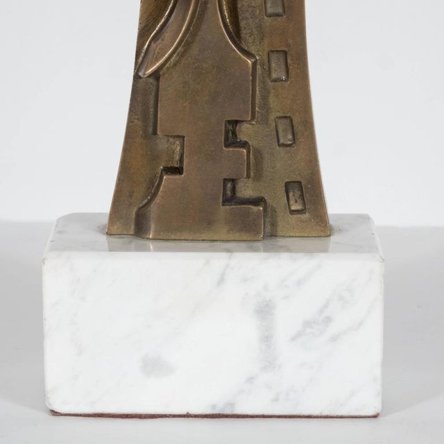 Mid-Century Modern Sculpture in Patinated Bronze and Marble by S. Monachesi For Sale In New York - Image 6 of 10