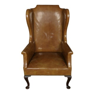 Queen Anne Style Leather Wing Chair For Sale