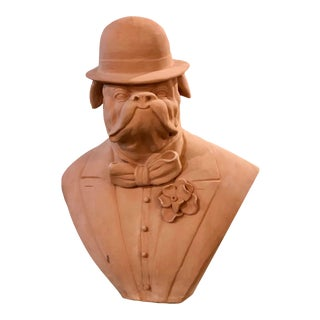 Terracotta Bust of Suited Bull Dog With Bowler Hat For Sale