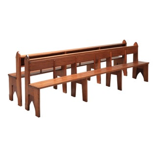 Mid-Century Modern Solid Oak Large Bench Wabi Sabi Style For Sale