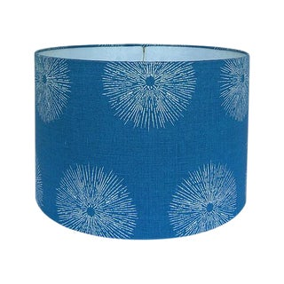 Medium Sea Urchin Blue Linen Custom Drum Lamp Shade For Sale