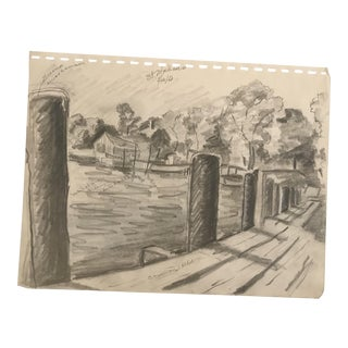 1950 Bayou Dock Scene Drawing For Sale