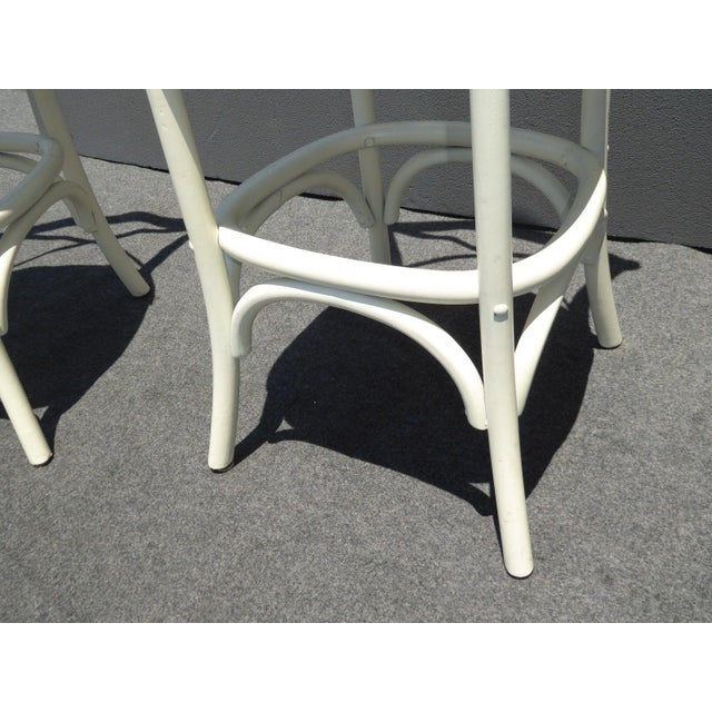 Vintage French Country White Rye Seat Bar Stools - A Pair For Sale - Image 10 of 11