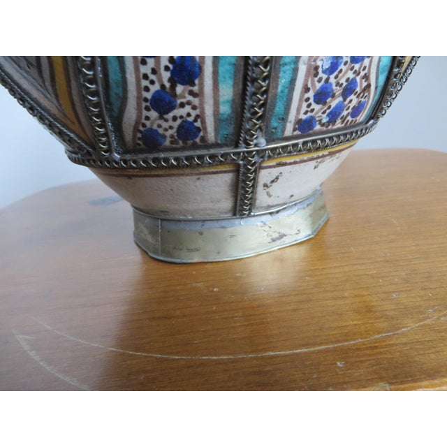 Blue Antique Moroccan Jar with Filigree For Sale - Image 8 of 11