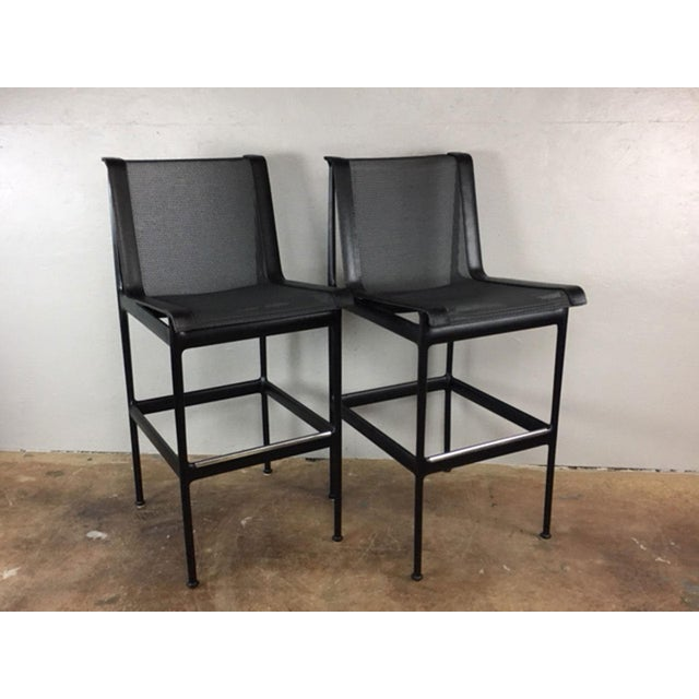 Black Richard Schultz Bar or Counter Stools - a Pair For Sale - Image 8 of 8