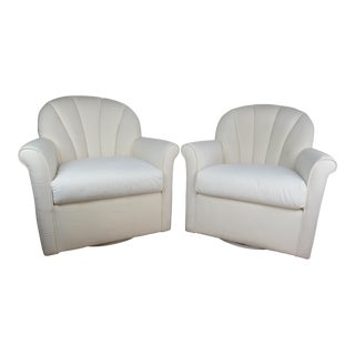 Late 20th Century Vintage Hollywood Regency Scallop Back Swivel Chairs - A Pair For Sale