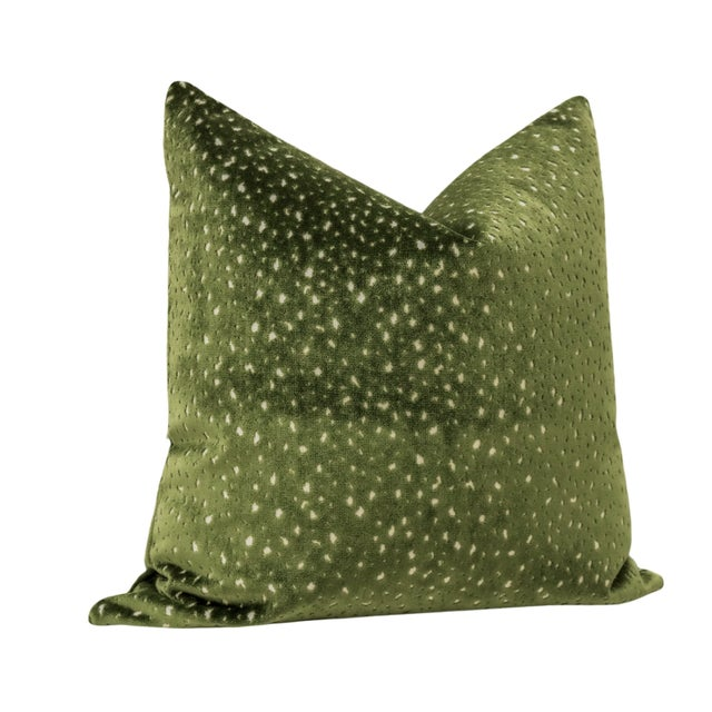 """Contemporary 22"""" Olive Antelope Cut Velvet Pillows - a Pair For Sale - Image 3 of 5"""
