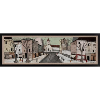 Circa 1955 Untitled Cityscape Oil Painting by Charles Levier, Framed For Sale