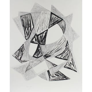 "Georgette London Owens ""Star"" Large Cubist Abstract in Ink and Charcoal, 2004 For Sale"