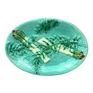 Majolica Asparagus Platter With Fern Clairefontaine, Circa 1880 For Sale