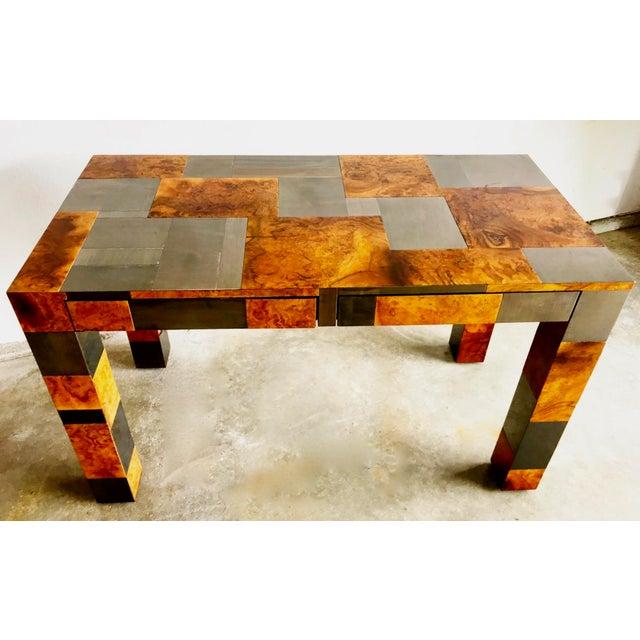 "1970s Paul Evans Signed Original ""Cityscape"" Desk in Burl Walnut & Chrome For Sale - Image 5 of 11"