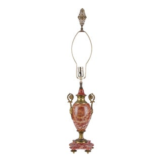 Louis XVI Style Rouge Marble and Ormolu Lamps For Sale