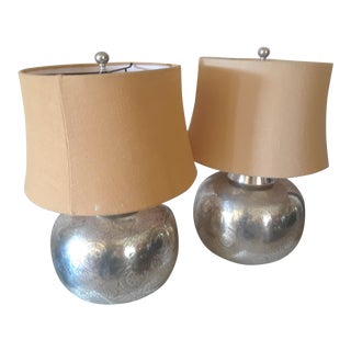 """Pottery Barn """"Geena """"Etched Metal Round Table Lamps with Original Shades - a Pair For Sale"""