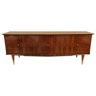 A Monumental Art Deco Maccasar and Inlaid Sideboard Credenza With Glass Shelves
