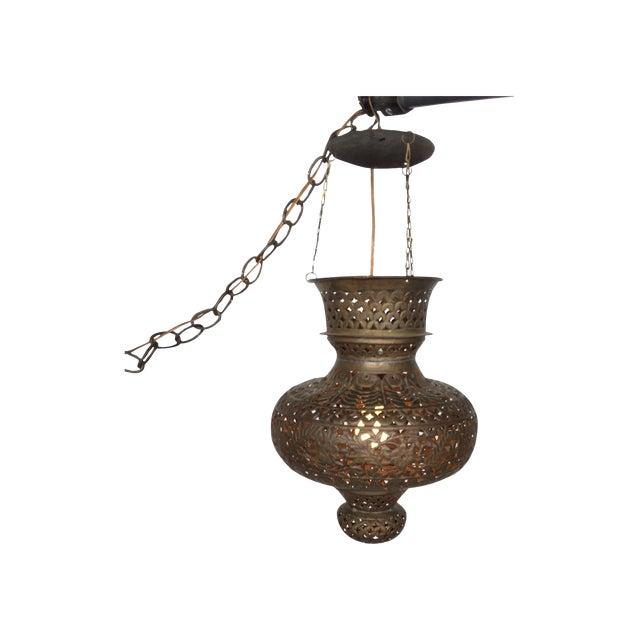 Pierced Bronze Moroccan Pendant Lamp - Image 1 of 4