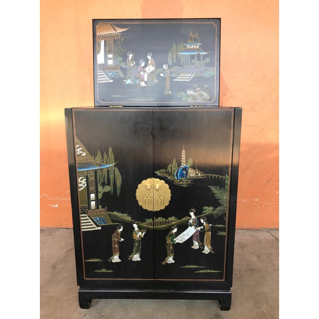Chinese Lacquer Bar Cabinet For Sale - Image 5 of 7