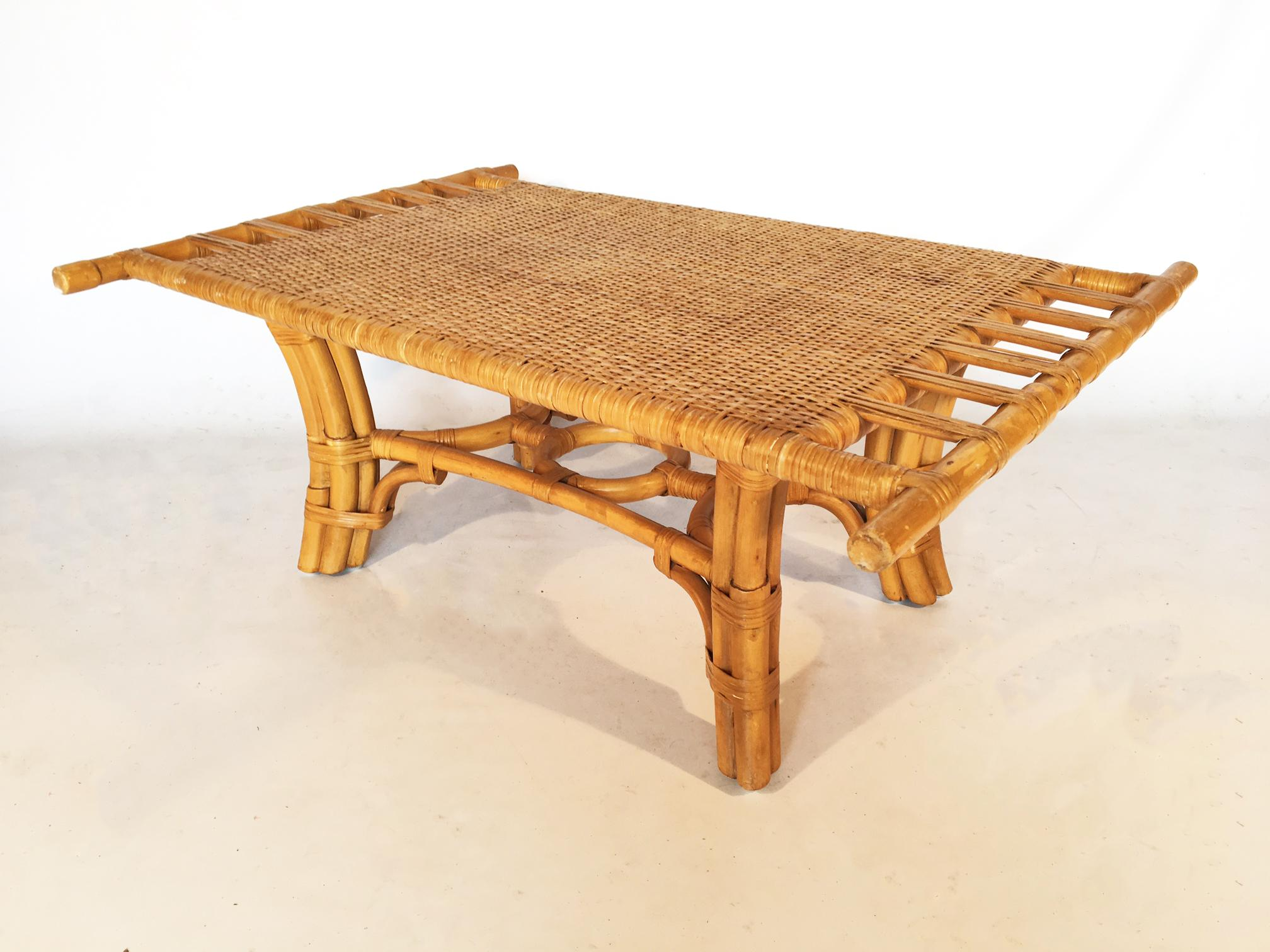 Vintage Pagoda Style Bamboo With Cane Coffee Table   Image 2 Of 7