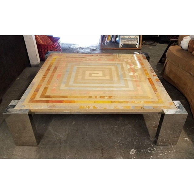 1970s Modern Marcello Mioni Pietra Dura Marble & Chrome Coffee Table For Sale - Image 11 of 11