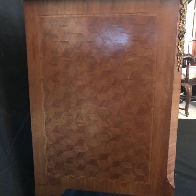Metal French Antique Marquetry Commode or Chest of Drawers With Marble Top For Sale - Image 7 of 13