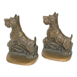 Art Deco 1930s Bookends Bronze Scotties Dog - the Pair For Sale