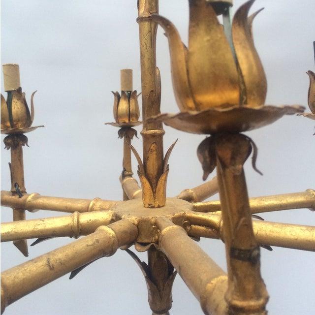 Gilded Metal Bamboo Chandelier - Image 3 of 6
