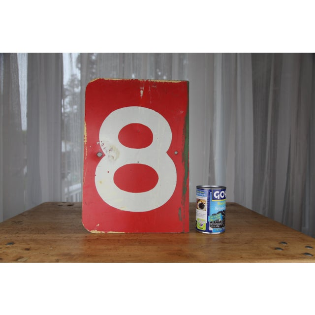 Vintage Number 8 Red Metal Sign From Airplane Hanger For Sale - Image 9 of 10