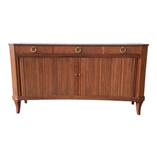 Baker Furniture Regency Style Curved Front Tambour Door Sideboard Credenza For Sale