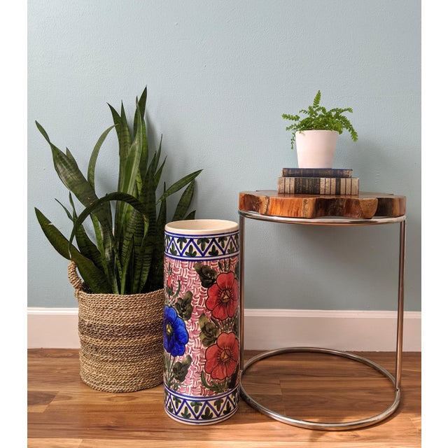 Stunning, Handpainted floral umbrella stand. Gorgeous design with pink, blue and green patterns on white. Mid-late 20th...