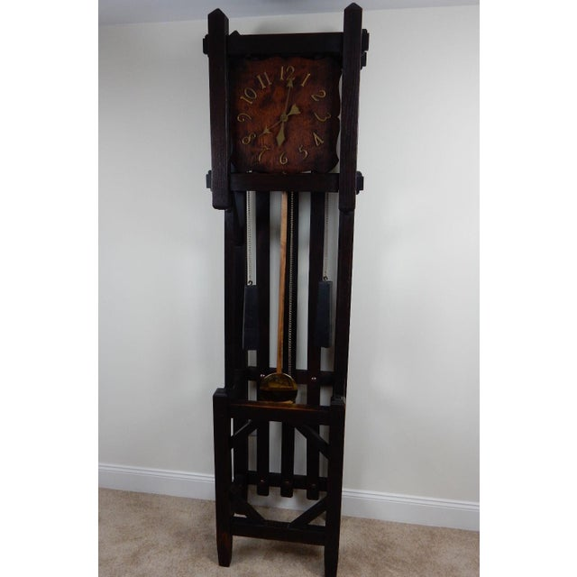 Antique Mission Arts & Crafts Tall Clock For Sale - Image 6 of 11