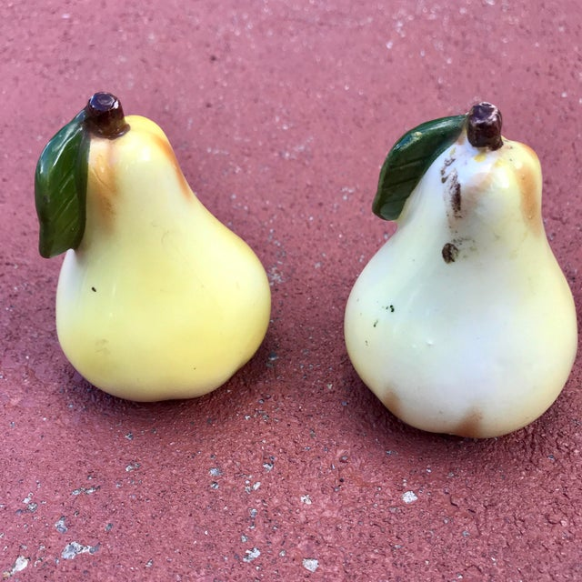 Late 20th Century Pear Majolica Salt and Pepper Shakers - a Pair For Sale - Image 5 of 6