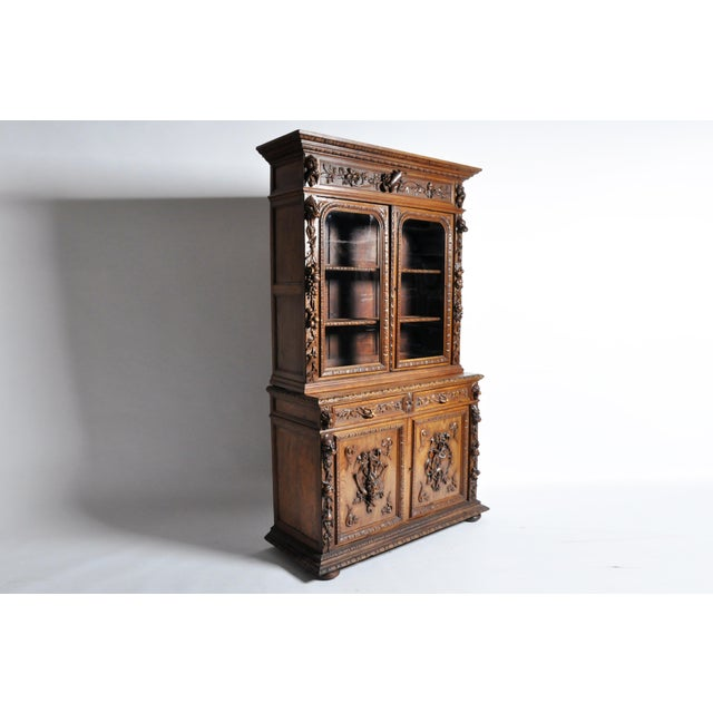 "French ""Black Forest"" Style Hunting Oak Buffet Cabinet For Sale - Image 4 of 11"