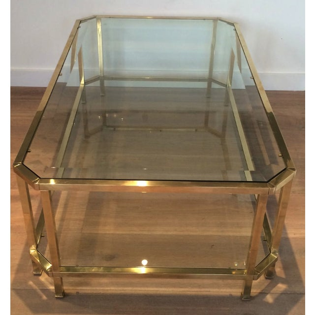Mid-Century Modern Mid Century Modern Roche Bobois Two Tiered Brass Coffee Table With Octagonal Corners and Beveled Top Glass Circa 1970 Pair of Tables For Sale - Image 3 of 6