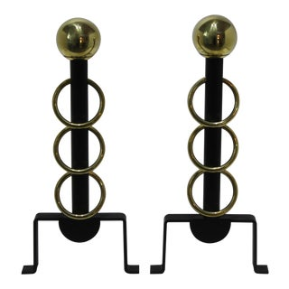 Art Deco Moderne 1930s Brass and Black Wrought Iron Andirons - Restored - the Pair For Sale
