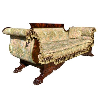 Mid 19th Century Empire Heavily Carved Flame Mahogany Settee Preview