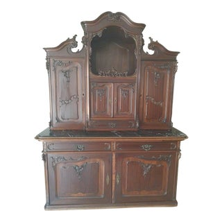 Flemish Carved Wooden Cupboard with Marble Top For Sale
