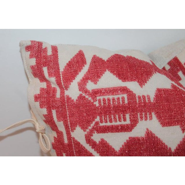 Tribal Pair of Embroidered Linen Tribal Pillows For Sale - Image 3 of 7