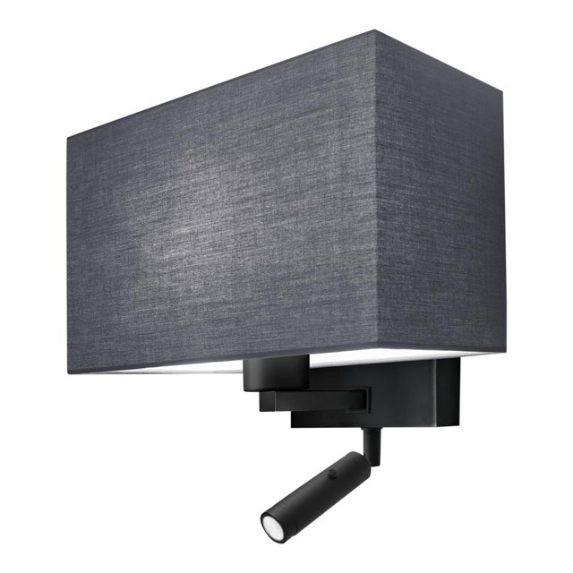 Mid-Century Modern Combination Wall Light With Led Reading Light in Satin Black For Sale - Image 3 of 4