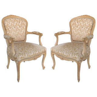Louis XV Style Provincial Fauteuil Armchairs With Velvet Upholstery, Pair For Sale