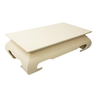 Asian Style Grasscloth Coffee Table For Sale