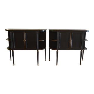 Pair of Louis XVI Style Black Demi-Lune Cabinets With Gilt Accents, Two Doors Compartment and Side Open Shelves. For Sale