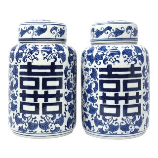 Ceramic Blue and White Double Happiness Jars - a Pair For Sale