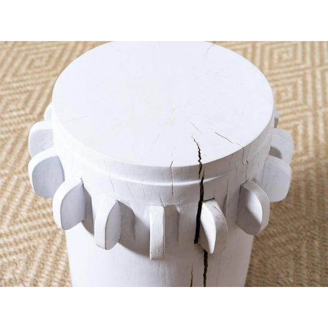 Modern White Grinder Wooden Side Table For Sale - Image 3 of 6