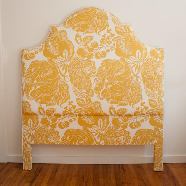 Traditional Yellow & White Floral Headboard For Sale - Image 3 of 3