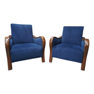 19th Century Art Deco Blue Reupholstered Armchairs - a Pair