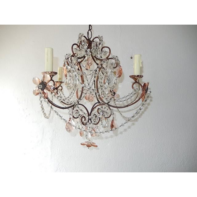 French Pink Maison Baguès Style Crystal Flower Chandelier For Sale - Image 11 of 11